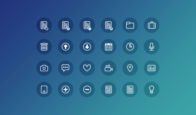 24 Clean Round Icons Free PSD