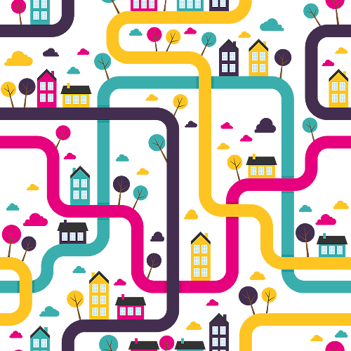Vector Pattern Town Background